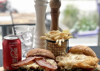 BBQ Bacon and Buffalo Chicken Burgers